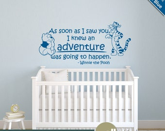 Winnie the Pooh Wall Decal Quote: Adventure Quote with Pooh and TiggerNursery Vinyl Sticker - WD0274
