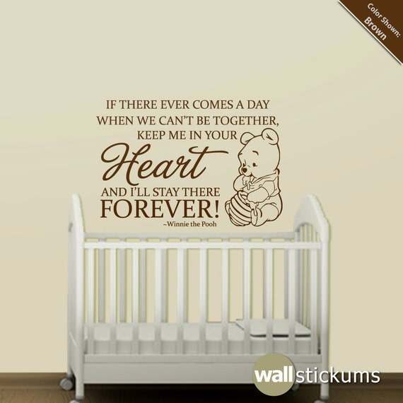 Winnie The Pooh Wall Quotes: Nursery Wall Decal Quote: Winnie The Pooh Heart Forever Quote