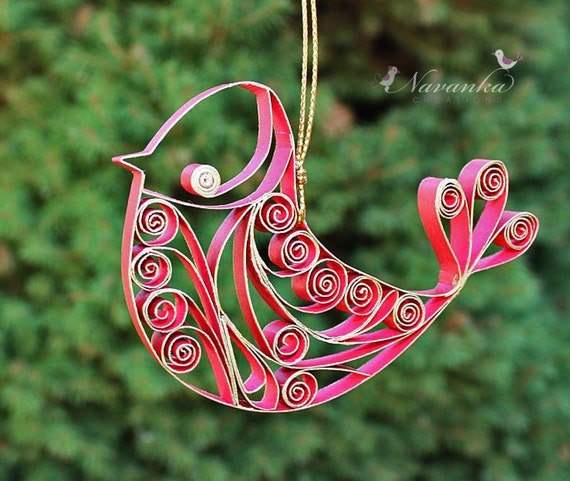 Quilled Paper Ornaments Paper Quilling Red And Gold