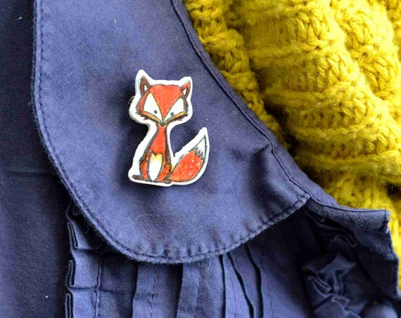 fox brooch pin badge button black white red hand drawn woodland illustration art shrink plastic raccoon ready to s