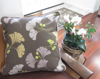 Ready-Made Pillow---GINGKO LEAVES in Dark Brown (20in)