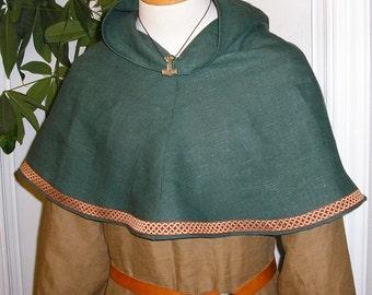 Viking Bocksten Pattern Linen Hood, Medieval Cowl