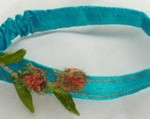 HOLIDAY GIFT SALE!  Silk Elastic Child's Headband Hair Fascinator Turqoise Band Orange Flower Lime Green Leaves Metallic Braid