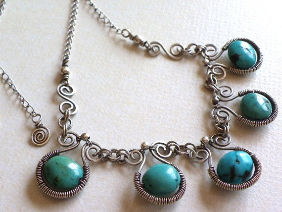 Wire wrapped handmade necklace sterling silver turquoise gemstone blue green jewelry