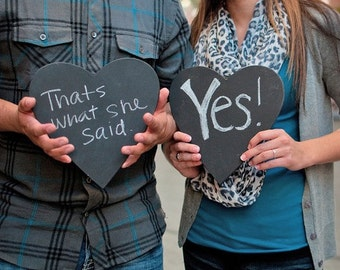 2 Chalk board heart Valentines Day Wedding Engagement Photo props 8 1/2  x 9 1/2