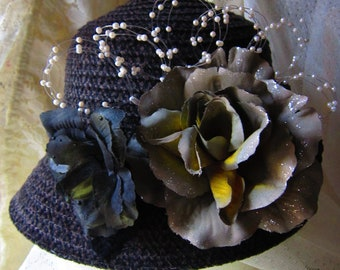 Upcycled Vintage Grey Flowered Cloche Hat