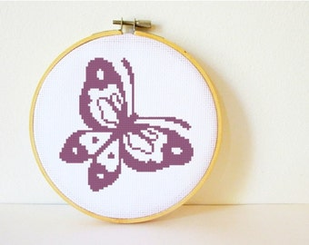 Counted Cross stitch Pattern PDF. Instant download. Butterfly. Includes easy beginner instructions.