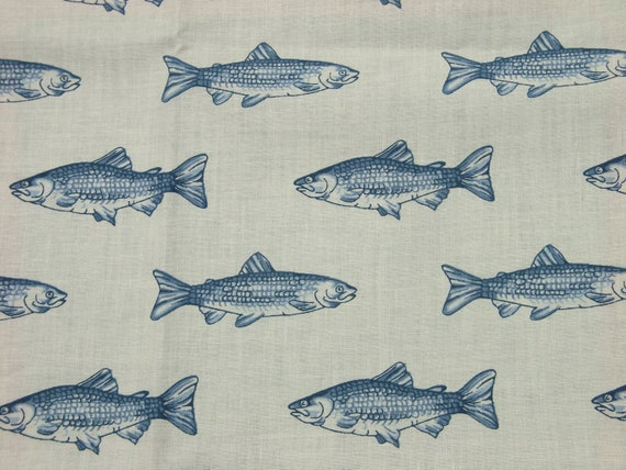 Vintage 1980s Wamsutta fabric in highquality unused cotton/synth. w large printed blue fish design pattern on bone light yellow bottomcolor