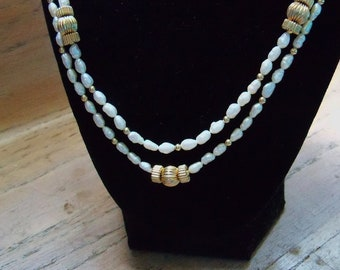 Freshwater Pearl Necklace 2 Strand 14/20 Gold Filled Vintage Beach Wedding Jewellery Bridal Party