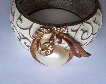 Restyled Assemblage Bracelet Vintage Cuff Clamper Copper White Gift for Her Birthday Christmas Gift Guide