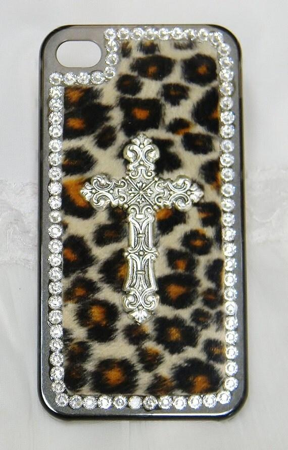 iPhone case cover Leopard print Custom Handmade Silver cross Rhinestone iPhone cases iPhone 4 case iPhone 4s case Hard cover
