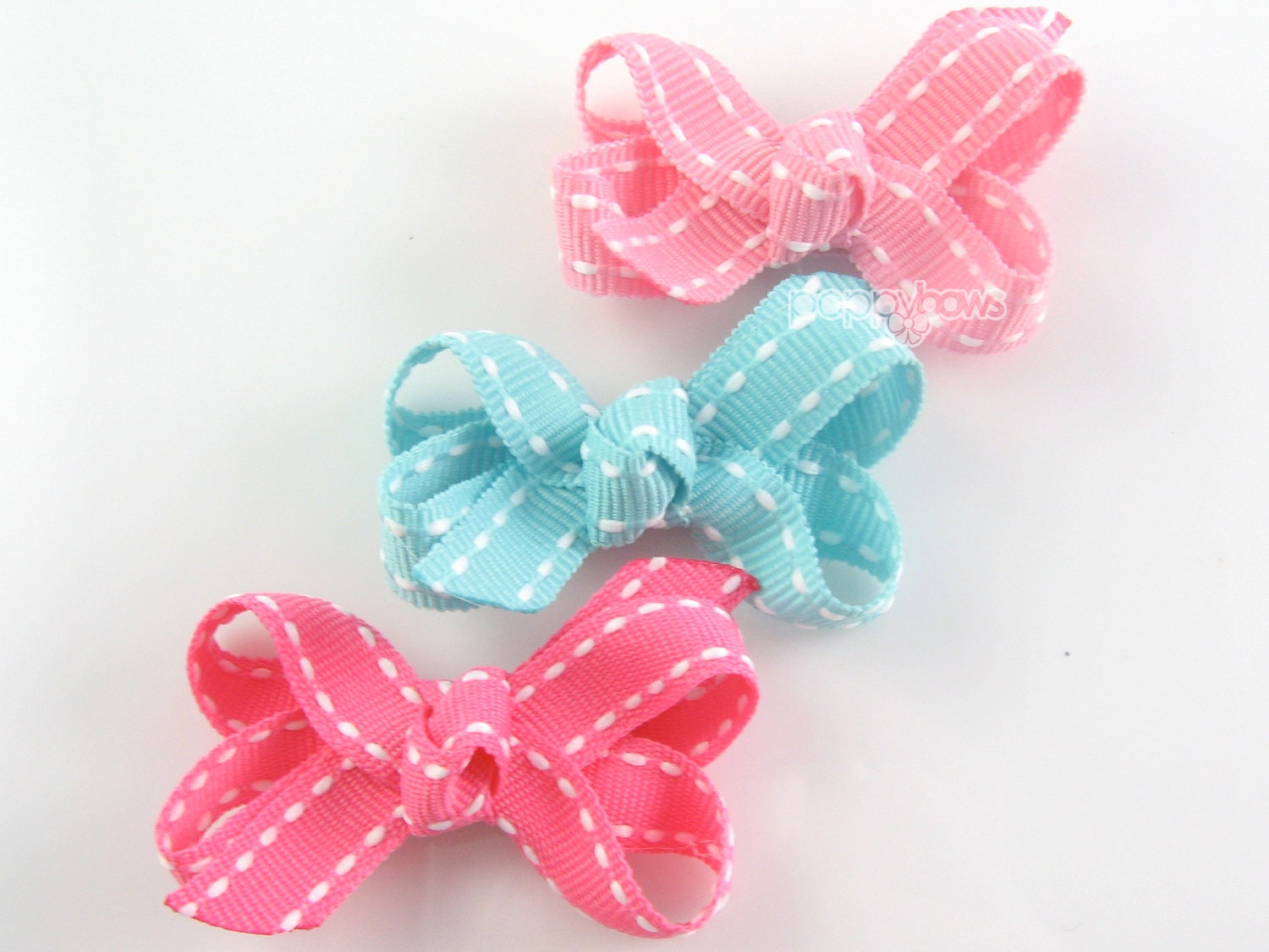 Baby Hair Bows Hot Pink Aqua Blue Light Pink Saddle Stitch