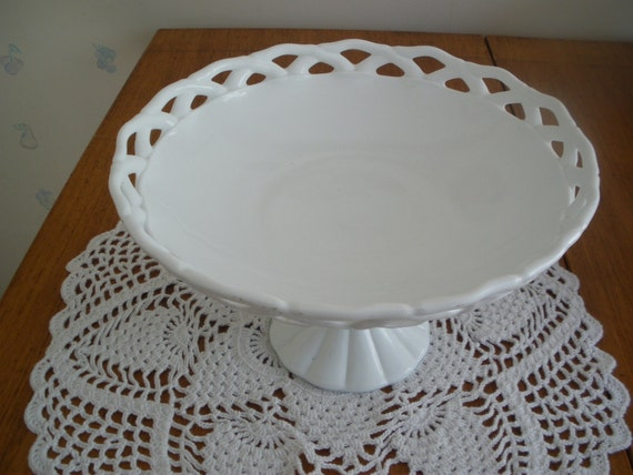 Milk Glass Pedestal Bowl With Lacy Edge Large Vintage