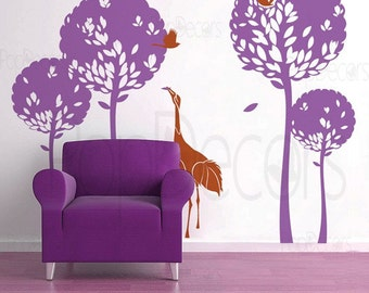 Playing Crane in the Tree Garden (71inch H)- Living Room Wall  Decals Stickers Home Decor by Pop Decors