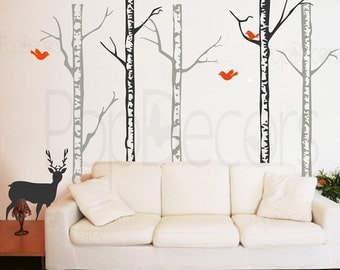 Trees Wall Decal Living Room Wall Decal Deer Wall Decal Deer Wall Art- Winter Cool Forest with Deer (90 inch H) -Designed by Pop Decors