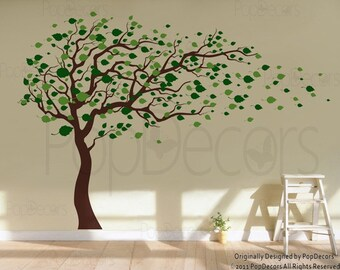 "Tree Wall Decals Baby Room Decal Vinyl Wall Decal Wall Sticker-Blowing in the Wind (83"" H)- Designed by Pop Decors"