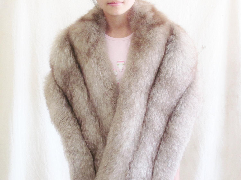 Vintage norwegian blue fox fur stole jacket winter wedding - Stoel fur ...