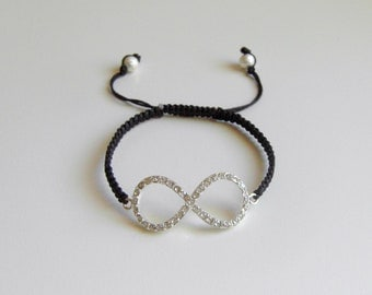 INFINITY Bracelet, Dazzling Crystal Silver Eternity Sign, Macrame Bracelet, Adjustable Bracelet, Harmony Bracelet