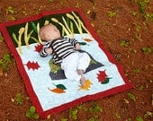 Turtle Baby Quilt- Leaves and Red Border