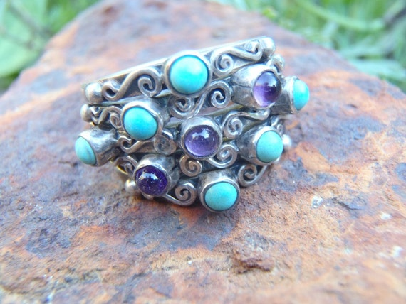 Vintage Carmen Beckmann Ring Amethyst Turquoise and Silver Ring 5-in-1 (Connected Stacking) Size 7-1/2 Mexico Signed Rare