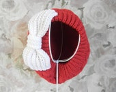 Knitted Winter Beret Hat with Large Crochet Bow - Red Hat with White Bow