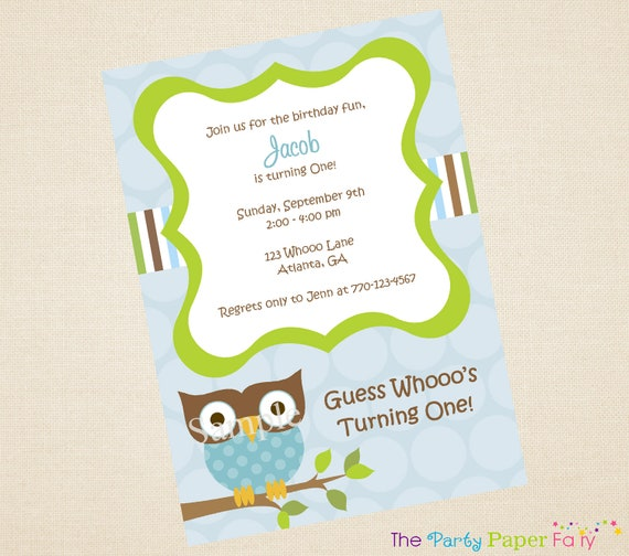 Mod Owl Boy Birthday Invitation by The Party Paper Fairy