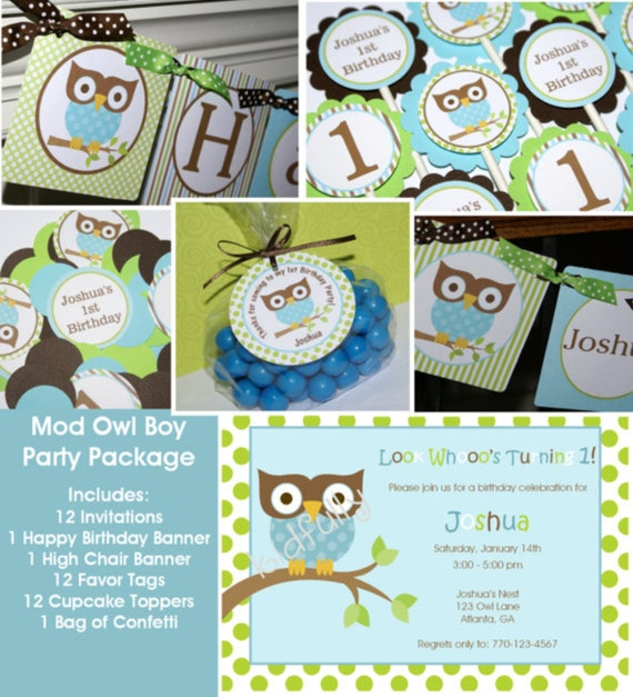 Boy Mod Owl Birthday Party Package Includes - Invitations, banners, cupcake toppers, favor tags & personalized confetti