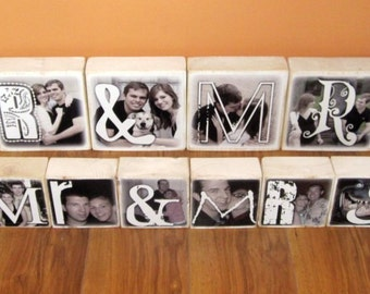 Personalized Photo Blocks- for your wedding- MR. and MRS. reception decoration- set of SiX LARGELetter Blocks