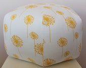 "24"" Ottoman Pouf Floor Pillow Yellow Dandelion"