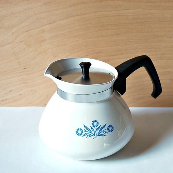 1970s Corning Blue Cornflower 6 Cup Teapot Coffee Pot