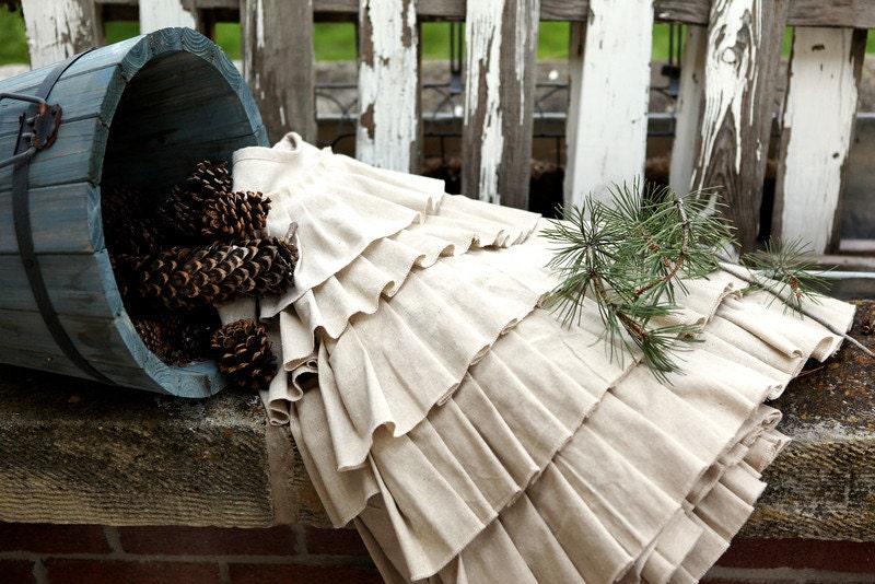 Items Similar To Cotton Christmas Tree Skirt, Pleated