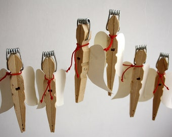3 clothespin angels,christmas decoration,contemporary design, upcycling design,modern christmas,christmas ornament