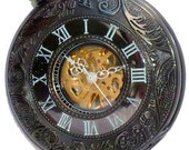 Steampunk pocket watch necklace  Victorian locket pendant EDISON mechanical APPARATUS wedding groom bridal watch