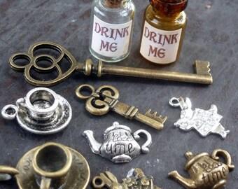 Wholesale 10pcs Steampunk key Alice in Wonderland necklace pendant charm Drink me bottle tea cup tea pot rabbit lot 99 antique silver bronze