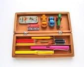 Vintage Wooden Pencil Case 1950s Kids Pen Storage Box with Bunny Rabbits