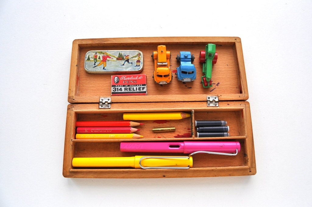 Vintage Wooden Pencil Case 1950s Kids Pen Storage Box by Inklinks