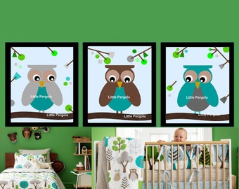 "Owl Art Prints, Matches Dwell Studio Owl Sky bedding, can also change Owl Colors, for Toddler Room Wall Art 11x14"" Set of Three Prints"