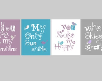 "Purple Nursery Art Prints // You Are My Sunshine Prints // Brooklyn Nursery Decor // Purple and Teal Nursery Art // Four-5x7"" PRINTS ONLY"