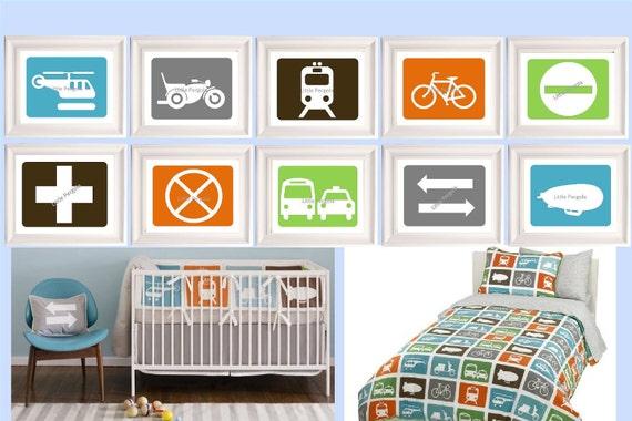 "Transportation Art // Transportation Decor // Transportation Nursery Decor // Vehicles Wall Art // Set of 4 8""x10"" PRINTS ONLY, Choose FOUR"