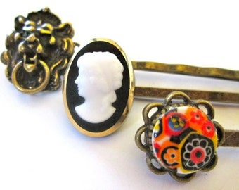 Fashion Hairpins Vintage Hair Accessories Steampunk Cameo Bobby Pins Clips