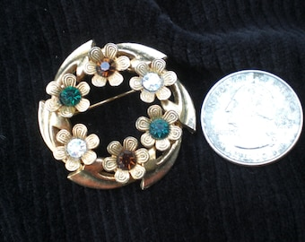 Vintage Austria Gold Tone 1950s to 1960s Circle Colorful Rhinestone Pin Brooch Multicolored Flowers