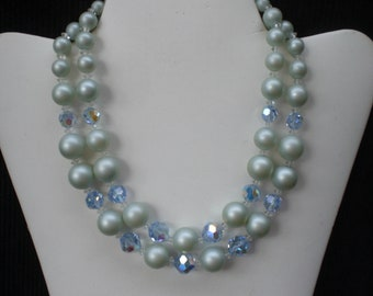 Vintage 1950s to 1960s Light Green Pearl Blue Iridescent Crystal Double Strand Necklace Plastic and Glass