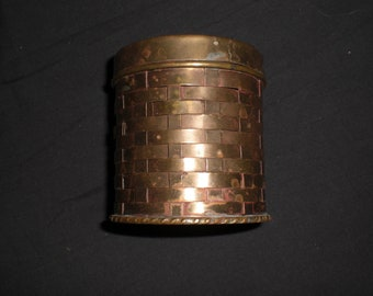Vintage Brass Weaved Container 1473  Made In India For Lord And Taylor 1970s Trinket Holder Metal Decor