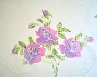 Hankie with Purple Painted Roses Vintage Handkerchief