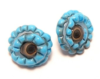 Glass shank button blue dragon eyes set of two