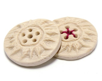 Polymer clay buttons folk motives bone imitation with carved sun set of large two