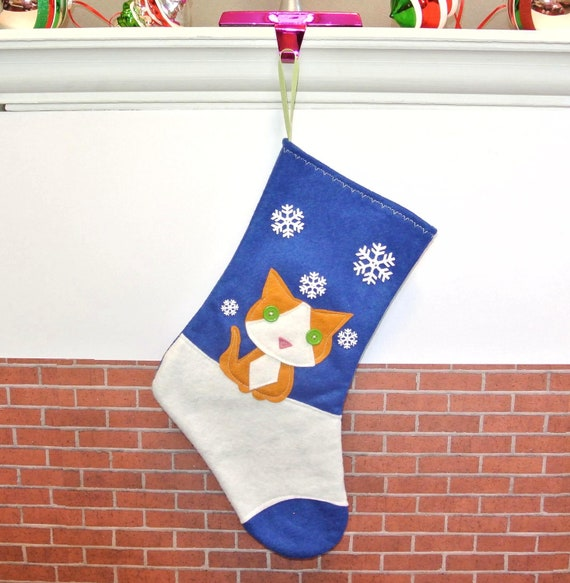 SALE Orange Cat Christmas Stocking in Sapphire Blue by Allenbrite Studio