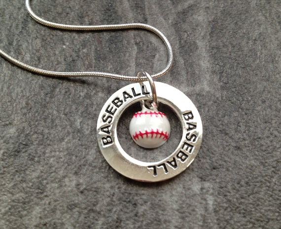 Baseball Necklace: Silver Baseball Charm Necklace
