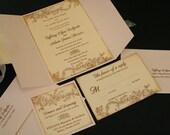 On Reserve for Jessica, 70 Vintage Wedding Invitation Suite, Flower & Flourish, French, Christian, Romantic, Marie Antoinette Series, Gold