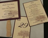 "Wedding Paddle Fan, Ceremony Programs, 6 x 6"" Square, Large Tree Pattern, Pearlized Base, Elegant, Eggplant or Color Options"
